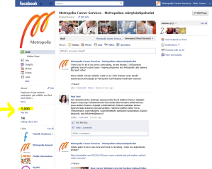 2012-2-1 Facebook, Metropolia Career Services, 1000 fans