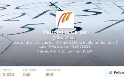 Twitter, @MetroCareer 6.2.2014